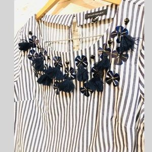 Banana Republic Tops - Banana Republic Striped Embellished Blouse